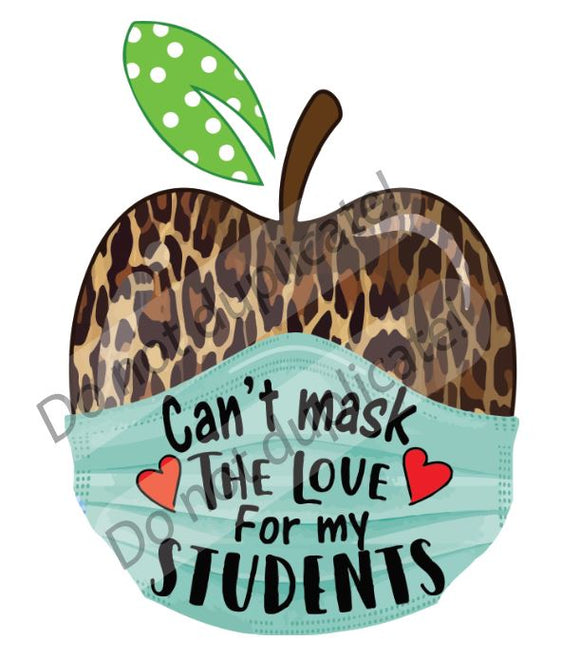 Leopard Apple with Mask (words) Vinyl Heat Transfer