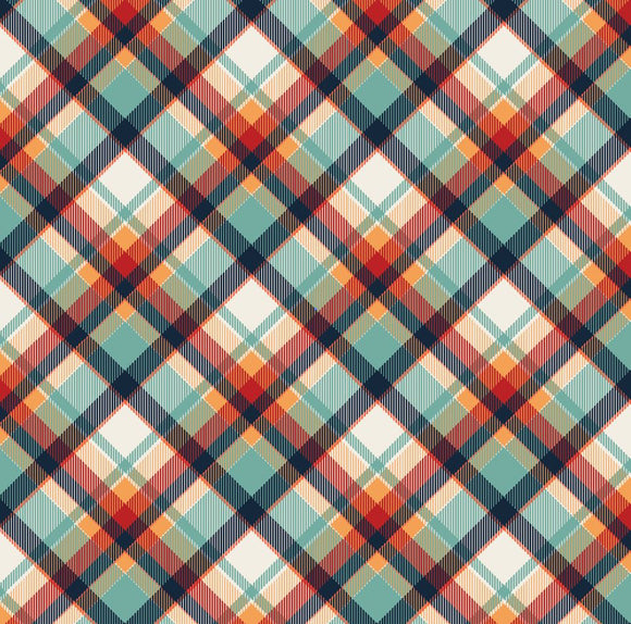 Aqua, Navy & Orange Plaid Printed Vinyl