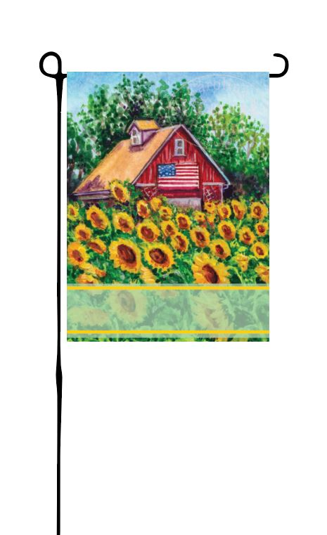 Barn with Sunflowers Garden Flag