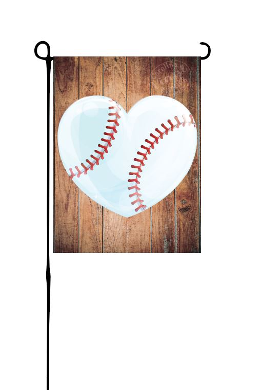 Baseball Heart Garden Flag