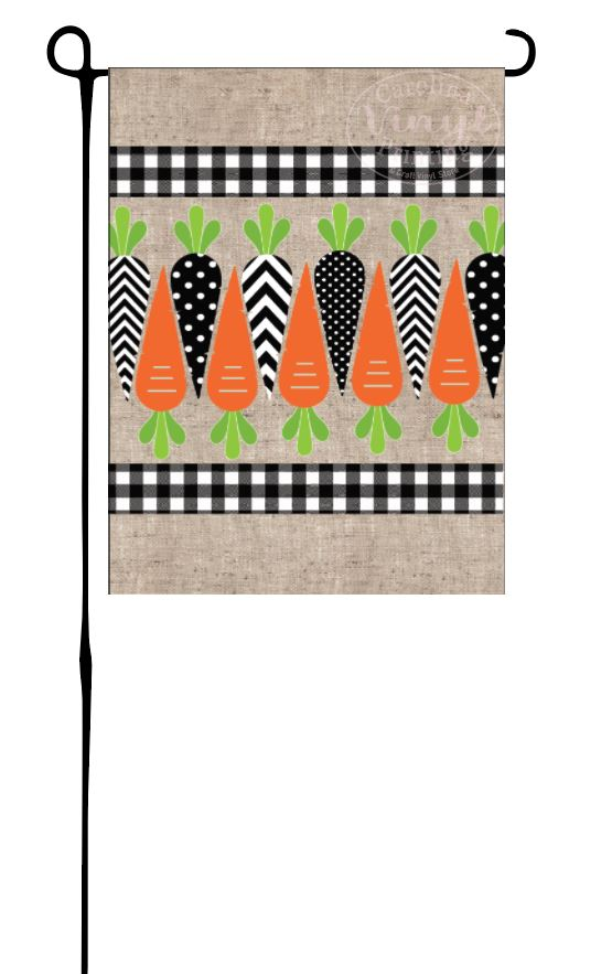 Black & White Carrots Garden Flag