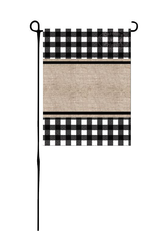 Black Buffalo Plaid & Burlap Garden Flag