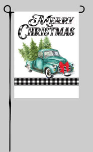 Truck with Trees with Buffalo Plaid (Merry Christmas) Garden Flag