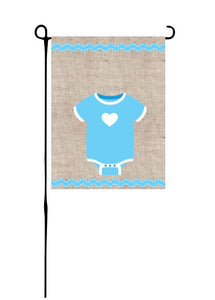 Blue Baby Onesie on Faux Burlap Garden Flag