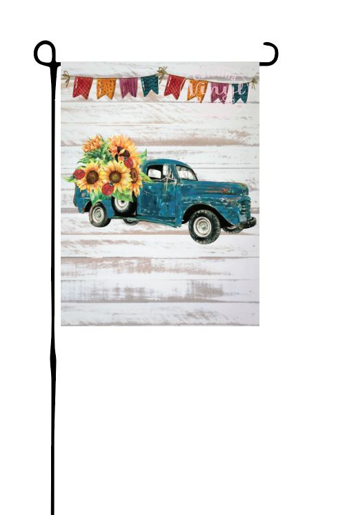 Blue Truck with Sunflowers & Ladybugs Garden Flag