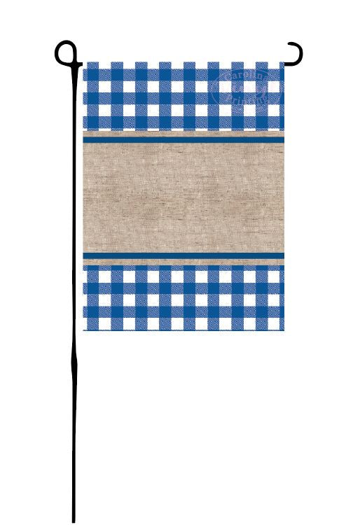 Blue Buffalo Plaid & Burlap Garden Flag