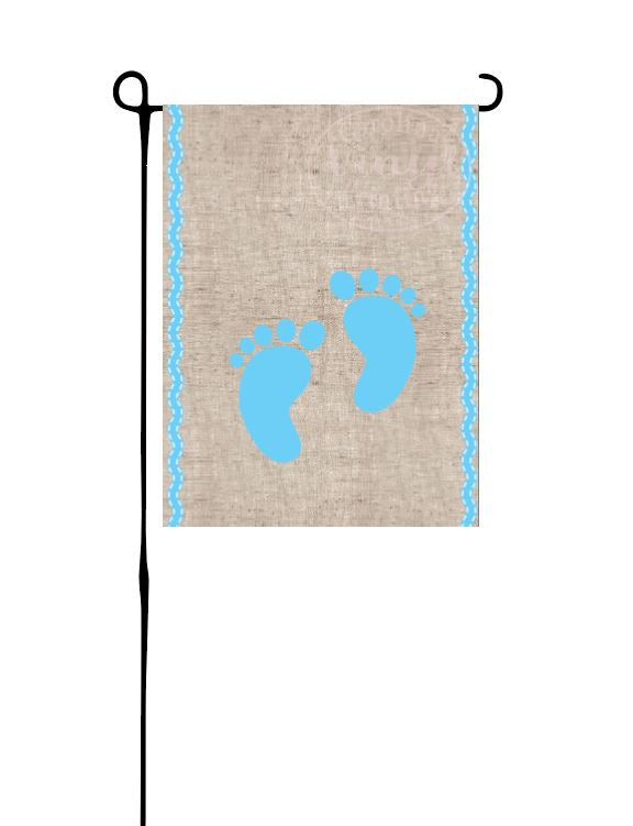 Blue Baby Feet on Faux Burlap Garden Flag
