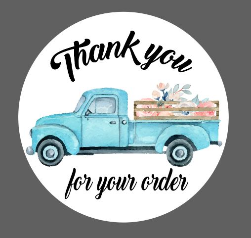 Blue Truck with Flowers - Thank You Stickers - Set of 45 (2.5 inch)