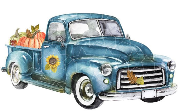 Blue Pumpkin Truck Vinyl Heat Transfer