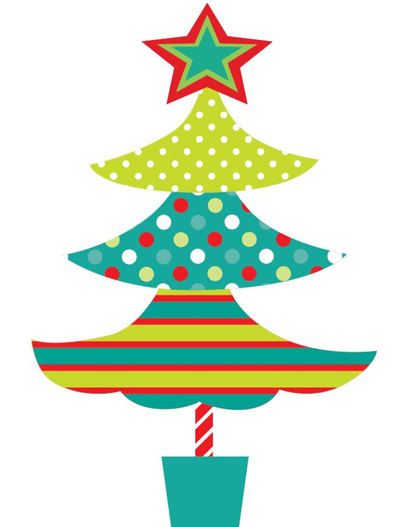 Polka Dot and Striped Christmas Tree Heat Transfer