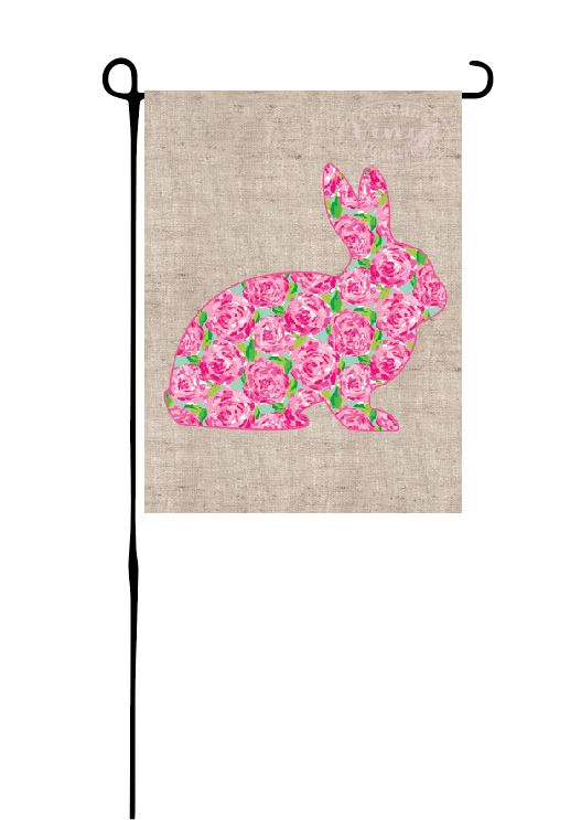 Easter Bunny - Rose Print on faux burlap Garden Flag