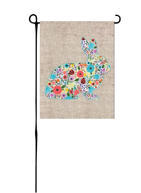 Easter Bunny - Floral print on faux burlap Garden Flag