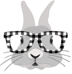 Bunny with Plaid glasses Heat Transfer