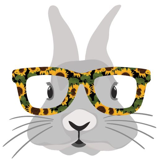 Bunny with Sunflower glasses Heat Transfer