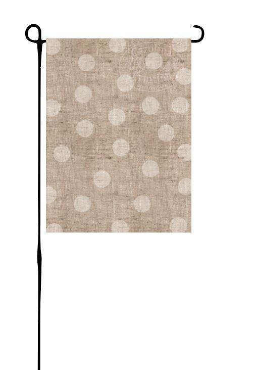Faux Burlap with Polka Dots Garden Flag