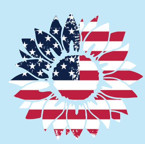 USA Sunflower Decal 4 inch (set of 6)