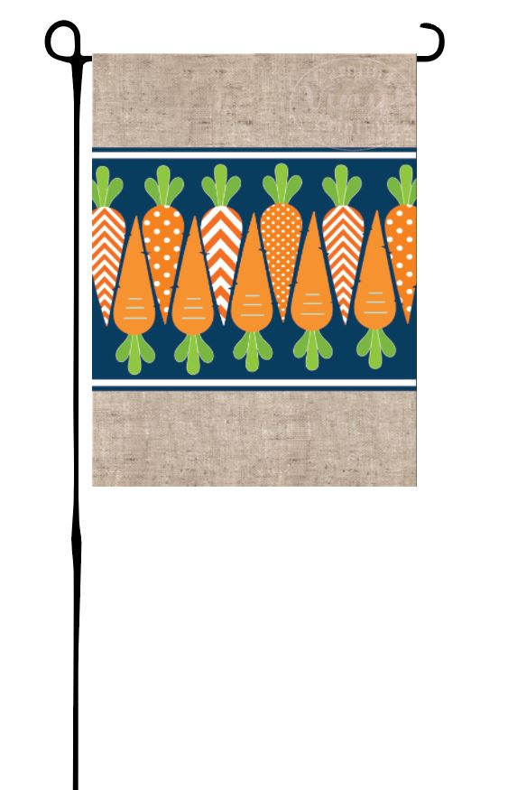 Carrots on Navy Garden Flag