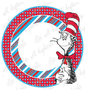 Cat in the Hat circle for Monogram Shirt Transfer