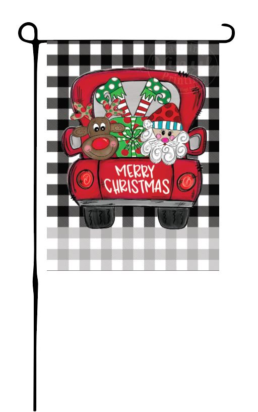 Christmas Characters in Truck Garden Flag