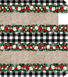 Christmas Garland on Plaid Mailbox Cover