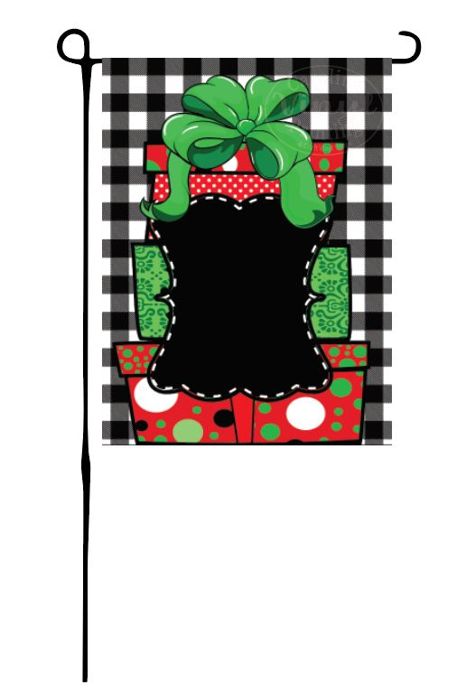 Stack of Christmas Gift (on Buffalo Plaid) Garden Flag