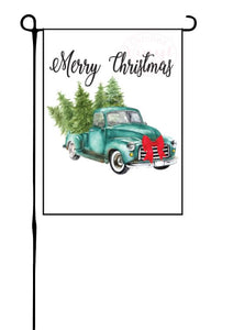 Truck with Trees (Merry Christmas) Garden Flag