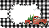 Red Christmas Truck on Plaid Mailbox Cover