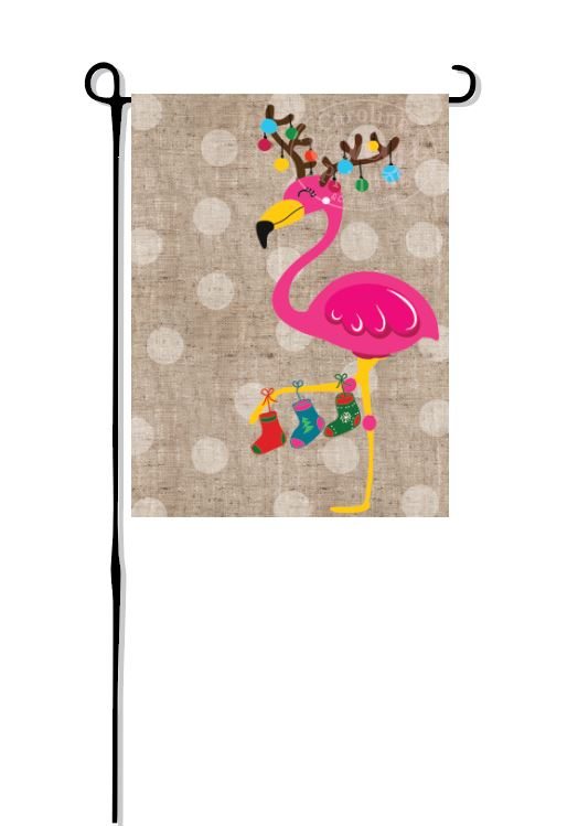 Christmas Flamingo Flag