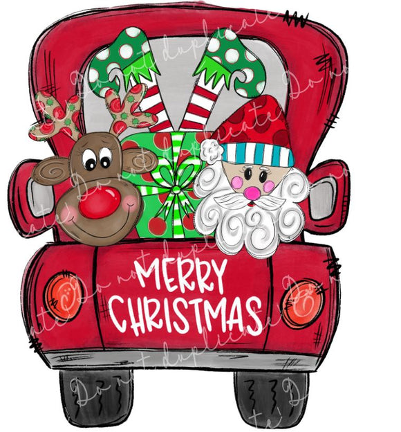 Christmas Truck with Characters Vinyl Heat Transfer