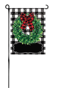 Snowy Winter Wreath on Buffalo Plaid Garden Flag