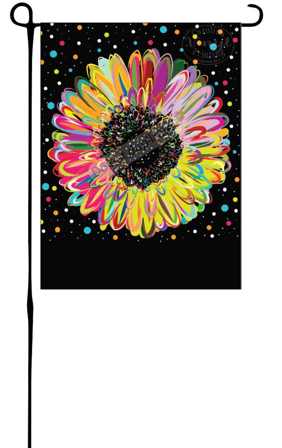 Colorful Flower on Black Garden Flag