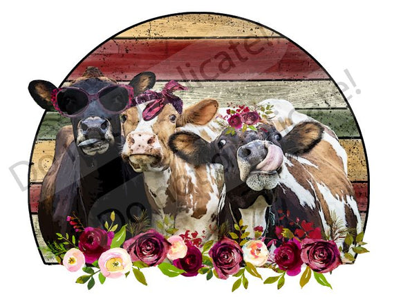 Cow Trio with Roses Vinyl Heat Transfer