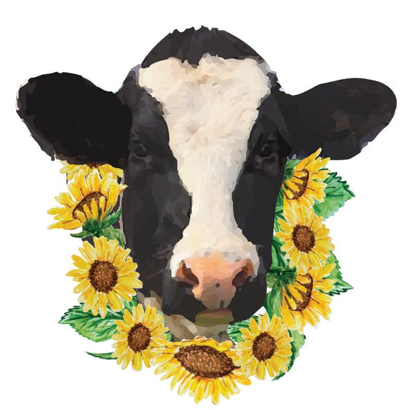 Cow with Sunflowers Vinyl Heat Transfer