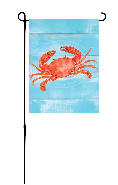 Crab on faux blue wood