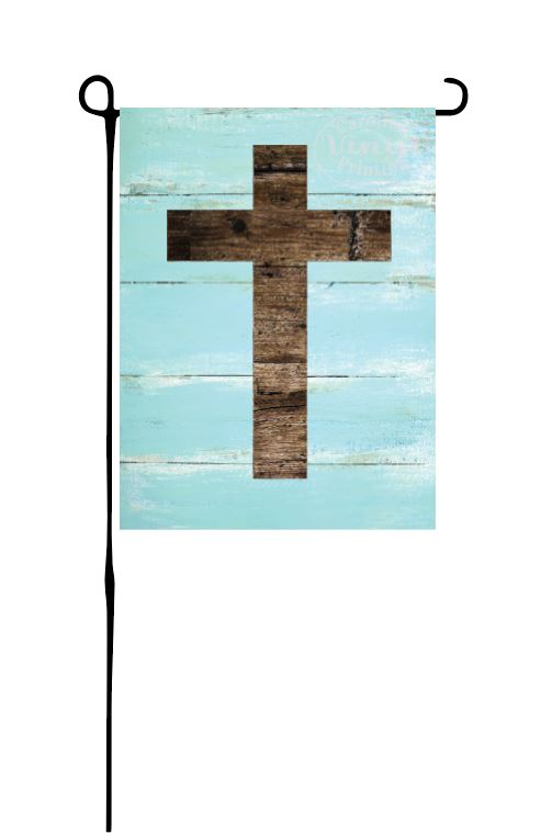 Wood cross Garden Flag