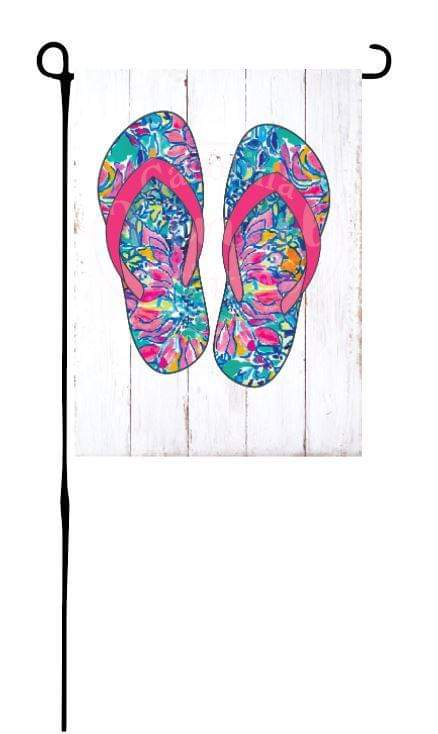 Colorful Flip Flops on faux wood Garden Flag