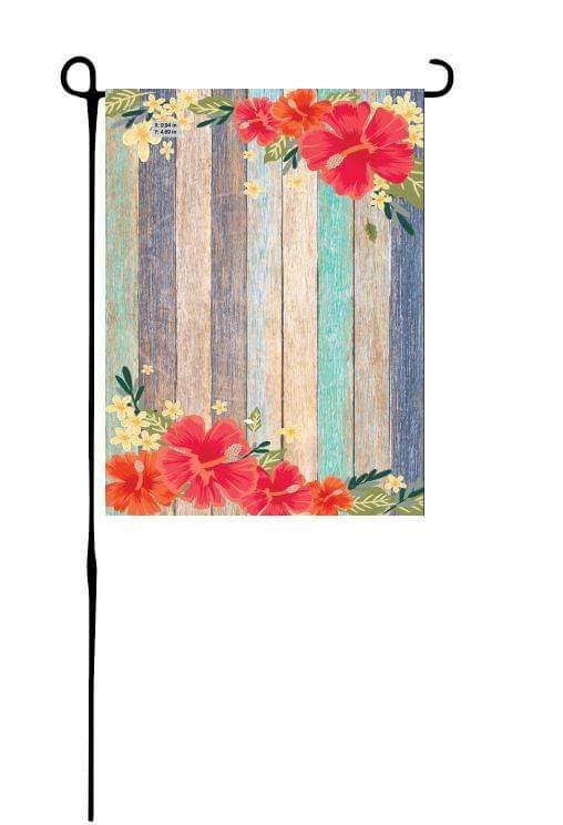 Hibiscus Border on Blue Wood