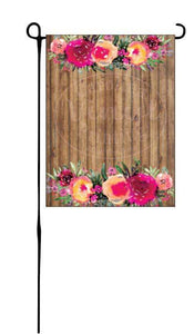 Rose Border on Wood Background