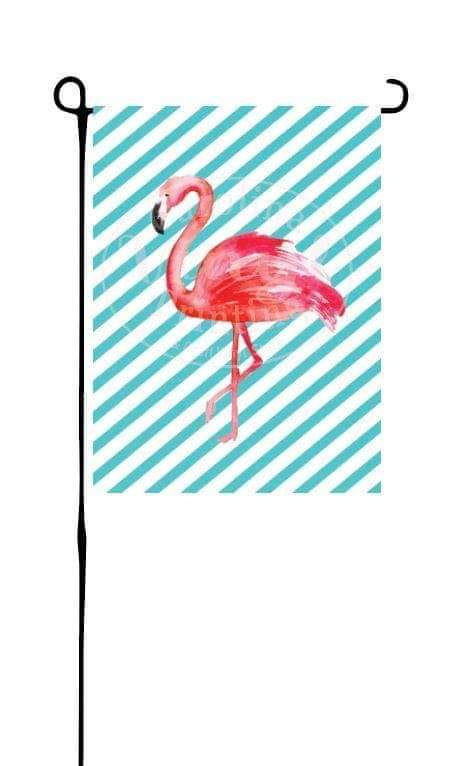 Flamingo on Stripes Garden Flag