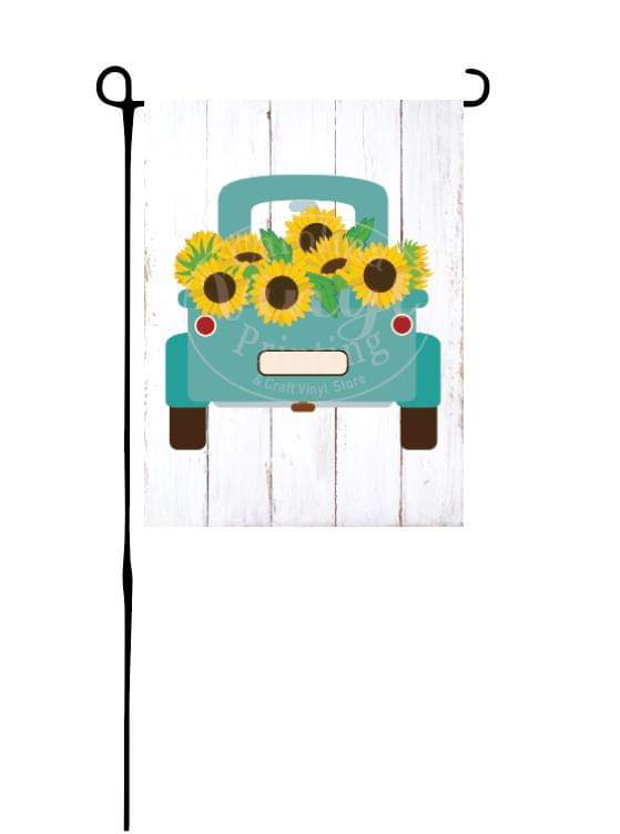 Mint Truck with Sunflowers Garden Flag