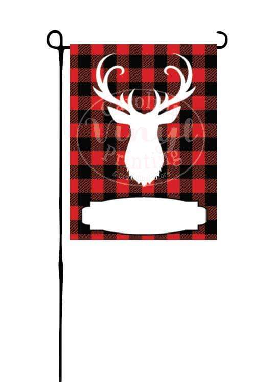 Christmas Deer on red buffalo plaid