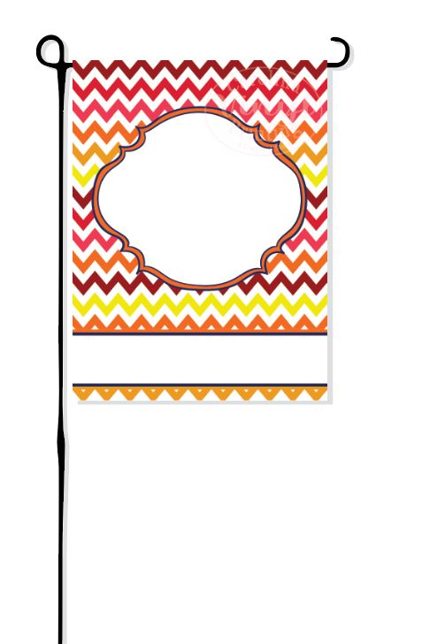 Fall Chevron with Frame Garden Flag