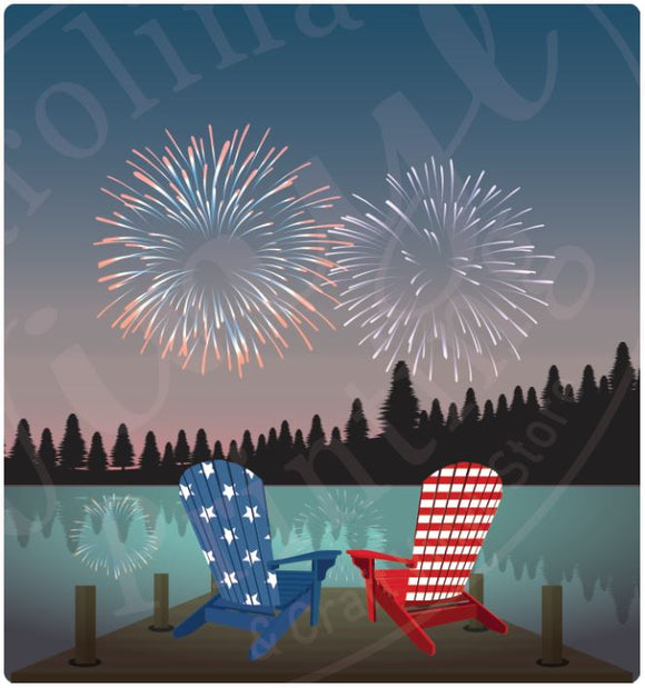 Lake Chairs & Fireworks Vinyl Heat Transfer
