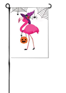 Flamingo Witch Garden Flag