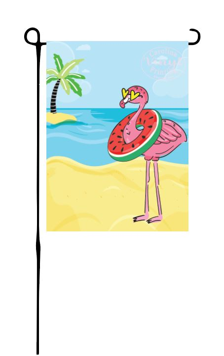 Beach Flamingo Garden Flag