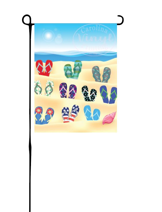 Flip Flops on Beach Grandparent Garden Flag