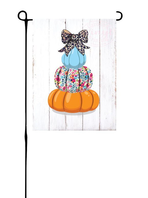 Floral Pumpkin Stack on Wood Garden Flag