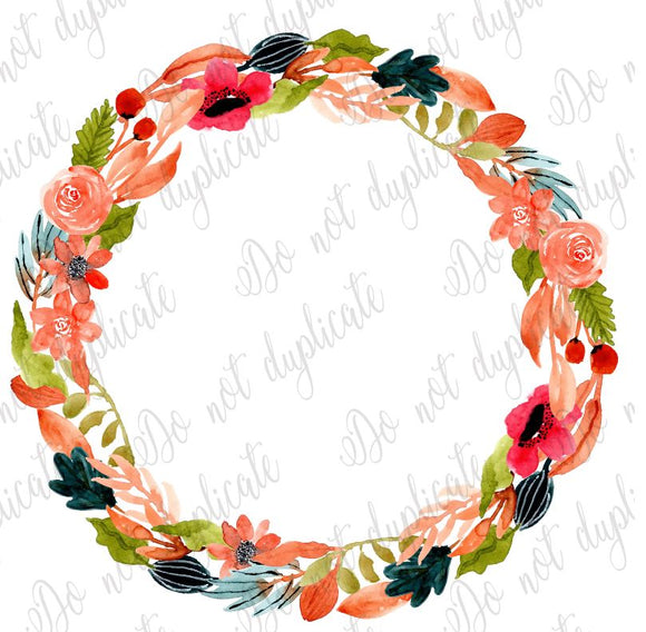 Floral Wreath - Peach & Navy - Heat Transfer