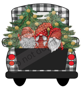 Christmas Gnomes in Truck Vinyl Heat Transfer