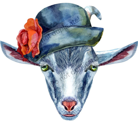 Goat in Blue Hat Vinyl Heat Transfer